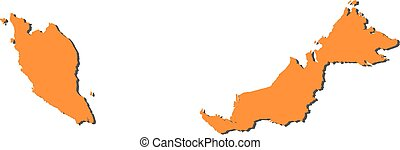 Map - Malaysia - Map of Malaysia, filled in orange.