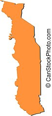 Map - Togo - Map of Togo, filled in orange
