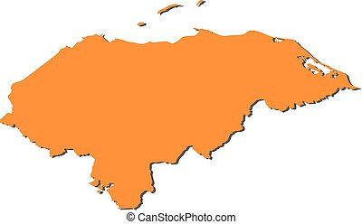 Map - Honduras - Map of Honduras, filled in orange