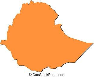 Map - Ethiopia - Map of Ethiopia, filled in orange