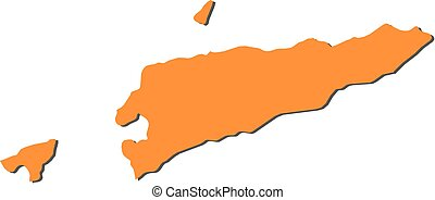 Map - East Timor - Map of East Timor, filled in orange.