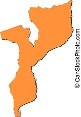 Map - Mozambique - Map of Mozambique, filled in orange