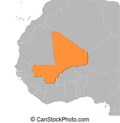 Map - Mali - Map of Mali and nearby countries, Mali is...