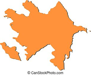 Map - Azerbaijan - Map of Azerbaijan, filled in orange