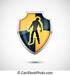 Glass Shield Vector - Black Yellow Checkered Style Vector...