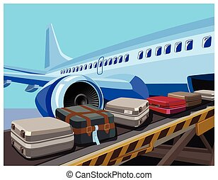 civilian aircraft and baggage - Stylized vector illustration...