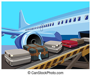 civilian aircraft and baggage - Stylized illustration on the...