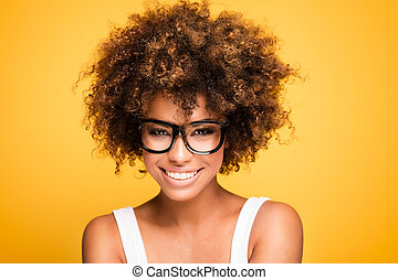 Laughing african american girl with afro - Young beautiful...