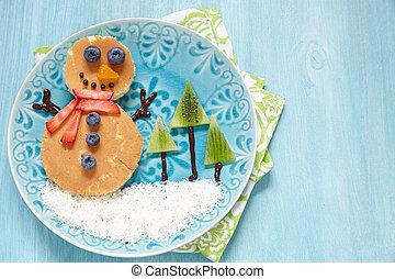 Christmas morning breakfast pancakes - Funny snowman...