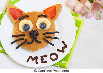 Cheerful breakfast - cat say meow pancakes - Pancake with...