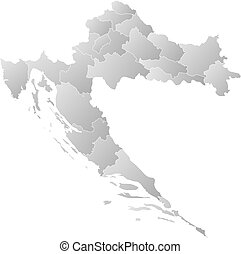 Map - Croatia - Map of Croatia with the provinces, filled...