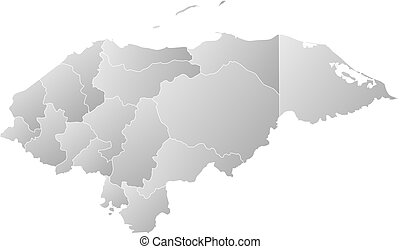 Map - Honduras - Map of Honduras with the provinces, filled...