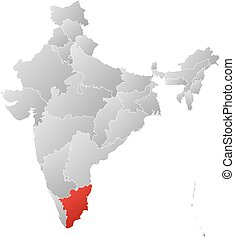 Map - India, Tamil Nadu - Map of India with the provinces,...