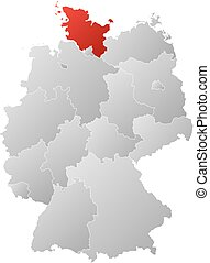 Map - Germany, Schleswig-Holstein - Map of Germany with the...