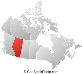 Map - Canada, Alberta - Map of Canada with the provinces,...