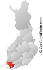 Map - Finland, Finland Proper - Map of Finland with the...