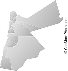 Map - Jordan - Map of Jordan with the provinces, filled with...