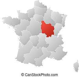 Map - France, Burgundy - Map of France with the provinces,...