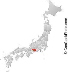 Map - Japan, Aichi - Map of Japan with the provinces, filled...