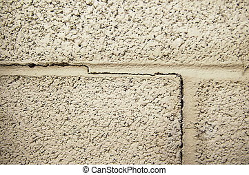 crack line in a cinder block foundation