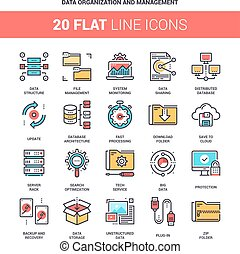 Data Organization and Management - Vector set of data...