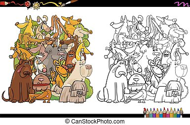 dog characters coloring page