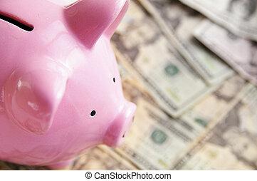 closeup of a piggy bank on cash