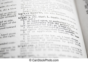 closeup of the word Legal in a dictionary