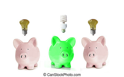 Piggy banks with light bulbs. One green.