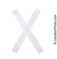 Letter X symbol made of insulating tape pieces, isolated...