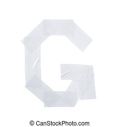 Letter G symbol made of insulating tape pieces, isolated...