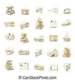 azul, queijo, jogo, múltiplo,  compositions