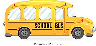 Yellow school bus - School transport isolated on white...