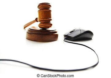 computer mouse and judges court gavel, on white