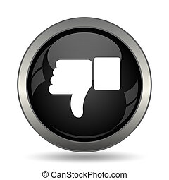 Thumb down icon. Internet button on white background.