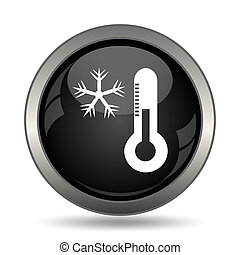 Snowflake with thermometer icon Internet button on white...