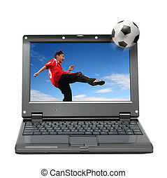 laptop with boy playing football - small laptop with boy...