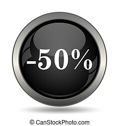 50 percent discount icon Internet button on white background...