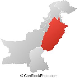 Map - Pakistan, Punjab - Map of Pakistan with the provinces,...
