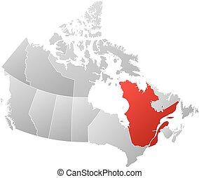 Map - Canada, Quebec - Map of Canada with the provinces,...