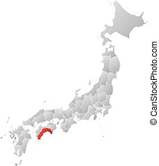 Map - Japan, Kochi - Map of Japan with the provinces, filled...