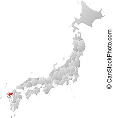 Map - Japan, Saga - Map of Japan with the provinces, filled...