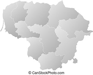Map - Lithuania - Map of Lithuania with the provinces,...