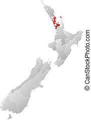 Map - New Zealand, Auckland - Map of New Zealand with the...
