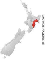 Map - New Zealand, Taranaki - Map of New Zealand with the...
