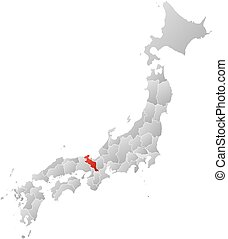 Map - Japan, Kyoto - Map of Japan with the provinces, filled...