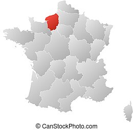 Map - France, Upper Normandy - Map of France with the...