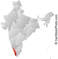 Map - India, Kerala - Map of India with the provinces,...