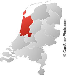 Map - Netherlands, North Holland - Map of Netherlands with...