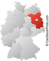Map - Germany, Brandenburg - Map of Germany with the...